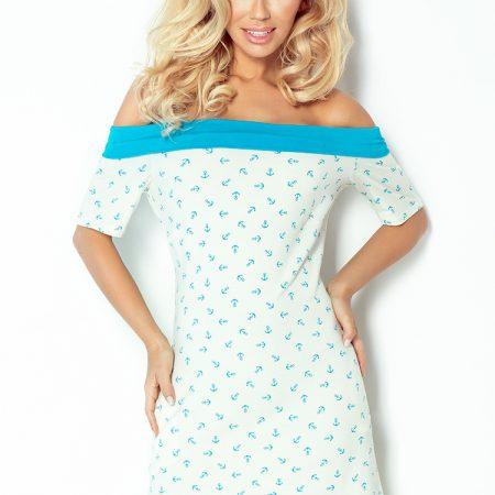 100-1 Sukienka z motywem marynarskim i kokardką - ECRU+niebieski-1