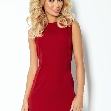103-4 KLASYCZNA sukienka z zakładkami w pasie - BORDO-1