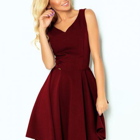 114-11 Rozkloszowana sukienka - dekolt w kształcie serca - BORDOWA-1