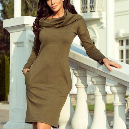 131-8 Sukienka z dużym GOLFEM i kieszeniami - KHAKI-1