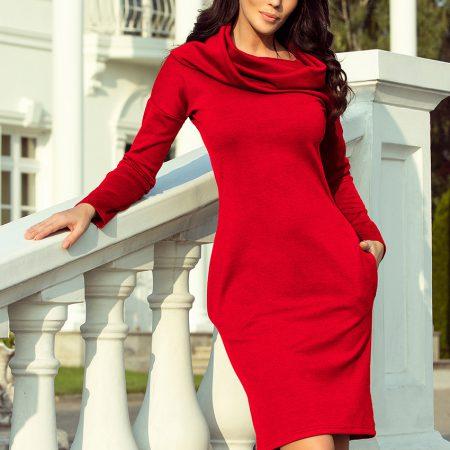 131-9 Ciepła sukienka z kieszeniami i GOLFEM - CZERWONA-1