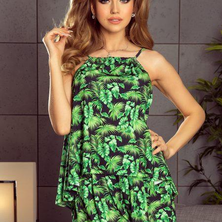 197-1 Komplet - luźna bluzka + spodenki na gumce - zielone liście-1