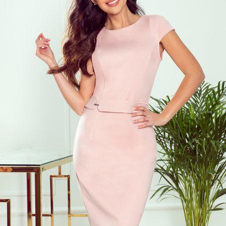 301-1 TAMARA Elegancka sukienka midi z PASKIEM - PUDROWY RÓŻ-1