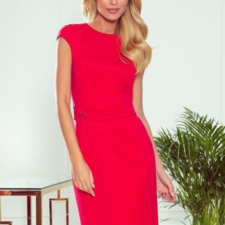 301-2 TAMARA Elegancka sukienka midi z PASKIEM - CZERWONA-1