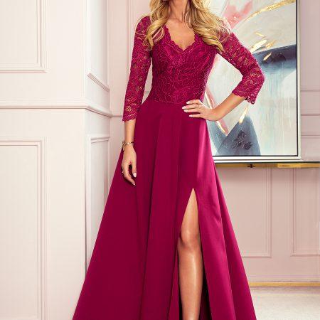 309-1 AMBER elegancka koronkowa długa suknia z dekoltem - BORDOWA-1