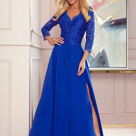 309-2 AMBER elegancka koronkowa długa suknia z dekoltem - CHABROWA-1