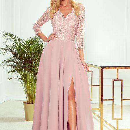 309-4 AMBER elegancka koronkowa długa suknia z dekoltem - PUDROWY RÓŻ-1